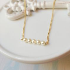 pearl bar necklace, pearl necklace, swarovski, bar necklace, pearl jewelry, minimal necklace, minimal pearl necklace, stacked necklace by Sayaestics on Etsy