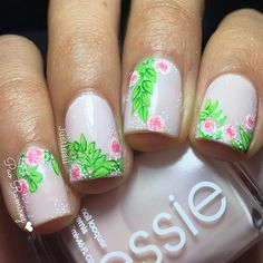 Bright floral nails