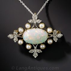 Edwardian Opal, 2,75ct, Pearl, and Diamond Necklace/ Brooch platinum on gold  1910 1837$