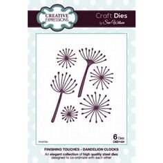 Creative Expressions Craft Dies by Sue Wilson - Finishing Touches Collection - Dandelion Clocks New Crafts, Creative Crafts, Arts And Crafts, Paper Crafts, Clock Craft, Dandelion Clock, Art And Hobby, Sue Wilson, Flower Template