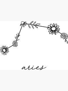 'Aries Zodiac Wildflower Constellation' Sticker by aterkaderk – Astrologie Aries Symbol Tattoos, Aries Zodiac Tattoos, Horoscope Tattoos, Celtic Tattoos, Arte Aries, Aries Art, Aries Sign, Tattoos Skull, Sleeve Tattoos