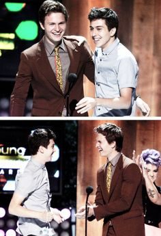 Ansel Elgort and Nat Wolff accepting the 'Favorite Flick' and 'Best Cast Chemistry' awards. Tfios, Divergent, Falling In Love With Him, I Fall In Love, Fault In The Stars, Nat Wolff, Augustus Waters, Ansel Elgort, Disney Princes