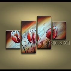 Beautiful Contemporary Wall Art Artist Oil Painting Stretched Ready To Hang Tulip Flowers. This 4 panels canvas wall art is hand painted by Anmi.Z, instock - $128. To see more, visit OilPaintingShops.com