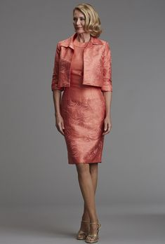 Siri - 9303 Short Swing Jacket with 9252 Coral Gable Dress   - Mother of the Bride Dress