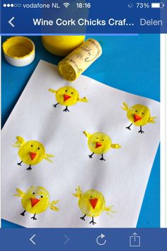 Simple Easter Crafts for Kids - Wine Cork Chicks CraftThis list of simple Easter crafts for kids is absolutely adorable! From egg carton chicks to cotton ball bunnies there are tons of Easter craft ideas here!These Easter crafts for kids offer a fun Easter Art, Easter Crafts For Kids, Toddler Crafts, Preschool Crafts, Diy For Kids, Craft Kids, Children Crafts, Preschool Kindergarten, Cork Crafts
