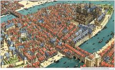 Île de la Cité, the bustling center of century Paris, France Fantasy City Map, Fantasy World Map, Fantasy Castle, Medieval World, Medieval Town, Paris Map, Paris France, City Drawing, Pictorial Maps