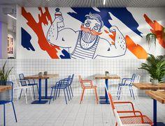 Benefit Cafe on Behance Cafe Interior Design, Cafe Design, Store Design, Container Bar, Food Graphic Design, Collateral Design, Murals Street Art, Restaurant Concept, Fish Design