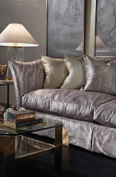the right amount of softness, cool and glitz Masculine Interior, Latest Design Trends, Modern Fabric, Home Collections, Fabric Design, Love Seat, Bed Pillows, Upholstery, Contemporary