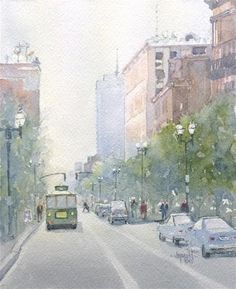 """Trolley Stop -7.5x6""""  Original Fine Art for Sale by Auction - © by Judy Mudd"""