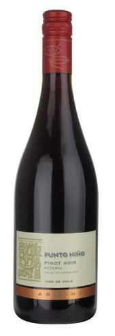 Punto Nino Pinot Noir Reserva 2011, Chile.     Chilean wine with a French twist.    Ripe raspberry fruit and notes of black cherry with a touch of sweet spice. A medium-bodied wine with plenty of juicy red berry fruit and soft, silky tannins.