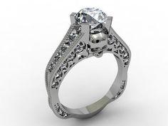 Skull Engagement Ring .75 CT Diamond Center - Diamond