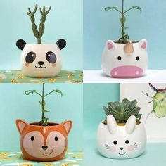 Macetas Animales, Gatito Y Zorrito! De Cerámica Esmaltadas. - $ 325,00 en Mercado Libre Diy Clay, Clay Crafts, Diy And Crafts, Crafts For Kids, Arts And Crafts, Plastic Bottle Art, House Plants Decor, Cute Clay, Ceramic Art