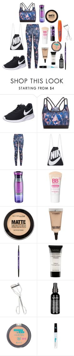 """Fitness Style"" by ellieacd ❤ liked on Polyvore featuring NIKE, Contigo, Maybelline, MAC Cosmetics, Urban Decay, Rimmel and NYX"