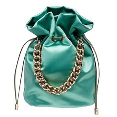 Shorty in mint satin with drawstring closure and gold top handle chain. Potli Bags, Summer Bags, New Bag, Small Bags, Handmade Bags, Tote Handbags, Mini Bag, Fashion Bags, Bucket Bag