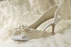 "Wedding Shoes - Vintage Wedding Lace - 2.25"" Heels- Swarovski Crystals and Pearls - Women's Bridal Shoes, Custom Dyed Colors, The Abigale"