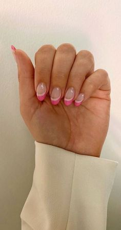 Colored French Nails, Colored Nail Tips, French Tip Acrylic Nails, French Tip Nail Designs, French Manicure Nails, Best Acrylic Nails, Colorful French Manicure, French Tip Design, Nail French