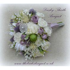 """Dusky Thistle"" - Stunning Unique Scottish Themed  Bridal Bouquet of Artificial…"