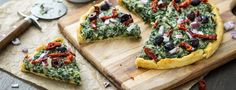 Pizza with Creamed Spinach, Sun-Dried Tomatoes, Red Onion, and Olives | Forks Over Knives