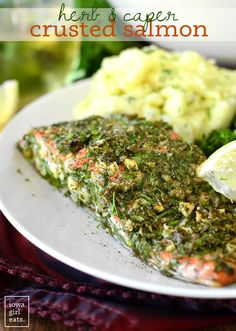 Herb and Caper Crusted Salmon - A light and healthy gluten-free dinner that takes just 20 minutes start to finish!