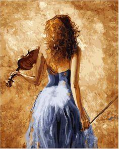 Menina que joga um violino pintura por números casa decoração da parede do vintage Diy arte pintura a óleo sobre tela parede pictures para sala de estar(China (Mainland))