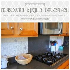 Would you consider stenciling a backsplash in your kitchen? We have an awesome Moroccan stenciled backsplash idea on the blog: http://blog.cuttingedgestencils.com/?p=13141   #cuttingedgestencils #stencils #stenciling #wallstencils #diy