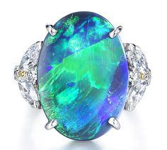 Oscar Heyman opal and diamond ring Black Opal Jewelry, Black Opal Ring, Big Jewelry, Platinum Jewelry, Women Jewelry, Fashion Jewelry, Unique Jewelry, Gothic Jewelry, Fashion Goth