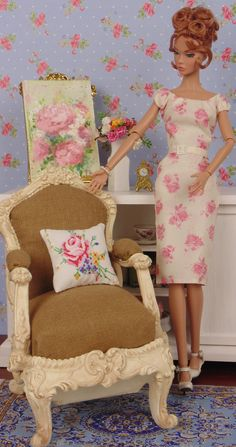 1:6 scale petit point pillow for Barbie & fashion by HankieChic