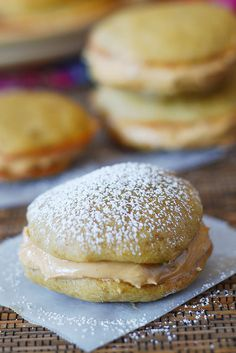 Banana whoopie pies with fluffy peanut butter frosting