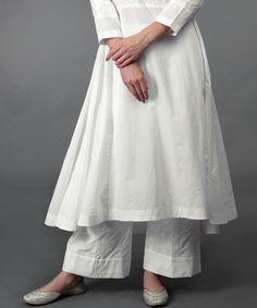 White Chikankari Hand Embroidered Kalidaar Palazzo Suit