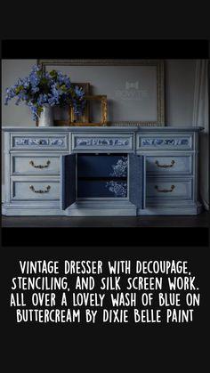 Decoupage Furniture, Upcycled Furniture, Bedroom Furniture, Furniture Design, Chalk Paint Dresser, Chalk Paint Furniture, Painted Dressers, Dixie Belle Paint, Vintage Dressers