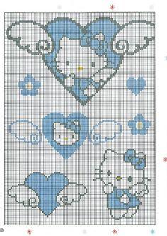 Cross Stitch Boards, Cross Stitch Heart, Plastic Canvas Ornaments, Plastic Canvas Patterns, Embroidery Hearts, Embroidery Patterns, Cross Stitch Designs, Cross Stitch Patterns, Hello Kitty Crafts