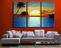 3171 pintado à mão 3 peça moderna paisagem pintura a óleo sobre tela arte sunset beach e imagem palmeira para casa decoração