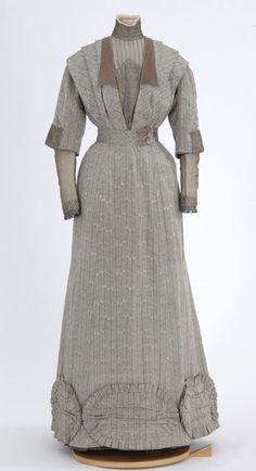 Gray floral print silk dress. Made by dressmakers Frances M., Gertrude H., and Cecelia M. Spettel, St. Paul, Minnesota.