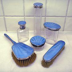 Art Deco vanity set blue guilloche enamel 6 piece dressing