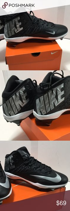 122bac6b2974 NIKE FOOTBALL CLEATS ZOOM CODE ELITE NIKE MENS FOOTBALL CLEATE SIZE 12 3 4  D BLACK METALLIC SILVER Nike Shoes Athletic Shoes