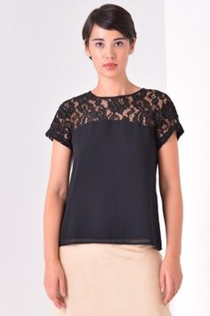 Clara Lace Panel Top in Black Tunic Tops, Lace, Wedding, Women, Fashion, Casamento, Moda, Women's, Hochzeit