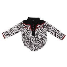 Wrangler Infant Girl's Zebra Print Western Shirt Onesie