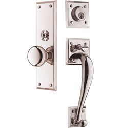 solid brass entry door handleset in brushed nickel | Door handle ...