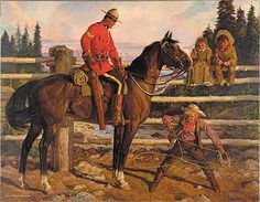 """""""Rope Trick"""" by Arnold Friberg ) The RCMP commissioned Friberg to capture the history of the police force. Ottawa, British Army Uniform, Toronto, Fur Trade, Police, Canadian History, Le Far West, Equine Art, Sports Art"""