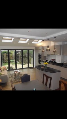 Modern kitchen remodel ideas kitchen remodel ideas modern kitchen remodel ideas before and after small layouts Open Plan Kitchen Diner, Kitchen Diner Extension, Open Plan Kitchen Living Room, Kitchen Family Rooms, Kitchen Sofa, Kitchen Extension With Skylights, Kitchen Extension Semi Detached House, Kitchen Extension Lighting, Small Kitchen With Island