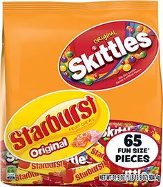 Skittles and Starburst Ounce Fun Size Bag, Original – Gourmet Gifts Halloween Candy Bags, Halloween Cookies, Halloween Parties, Halloween Stuff, Christmas Candy, Gourmet Gifts, Gourmet Recipes, Starburst Candy, Hershey Candy Bars