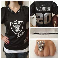 You better believe I will own this soon!!! Raider McFadden Jersey with custom jewelry set. $75.00, via Etsy.