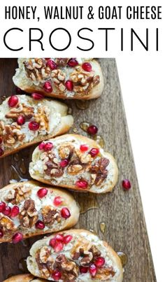 Honey Goat Cheese Crostini Recipe with Walnuts Honey Chipotle Chicken, Pizza Pasta Salads, Sugar Donut, Walnut Recipes, Keto Chocolate Chips, Easy Appetizer Recipes, Christmas Appetizers, Goat Cheese, Clean Eating Snacks