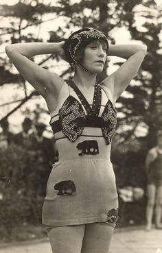 An old-timey California bear bathing costume. Complete with bedazzled dragons on the boobs.