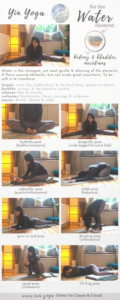 Yin Yoga for the Water Meridian / Element Release your hips & lower back Yoga to release connective tissue Class Theme & Sequence Yin Yoga sequences & inspiration for teachers & students! Online classes & ebook available now: https://www.eva.yoga/writing-resources https://app.namastream.com/#/evayoga/product/1983/recordings www.eva.yoga