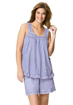 7011d3a2826c Woven short pjs by Dreams  amp  Co.® Woman Within Plus Size Pajamas