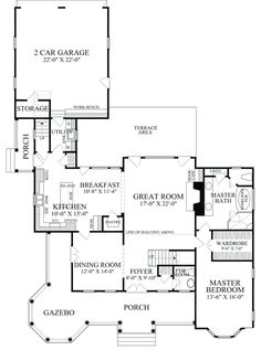 First Floor Plan of Colonial   Farmhouse  Southern   Victorian   House Plan 86280