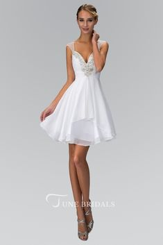 4731848449d A-Line Short Queen Anne Sleeveless Chiffon Dress With Ruching And Beading