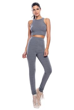 Gray Racer Back Two Piece Pant Set