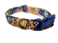 Bodhi- Organic Cotton CAT Collar Breakaway Safety Navy Blue Bohemian- All Antique Brass Hardware